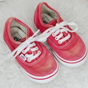 Infant Vans red lace up shoes sneakers sz 7